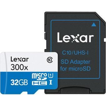 Lexar Cartão microSDHC 32GB Classe 10 com Adaptador SD