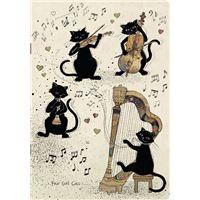 Caderno de Exercícios Pautado Bug Art - Beje com Gato Músico, A6