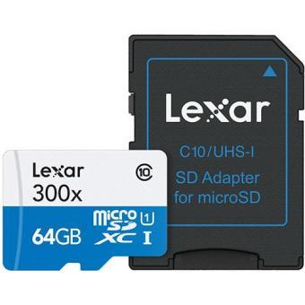 Lexar Cartão microSDHC 64GB Classe 10 com Adaptador SD