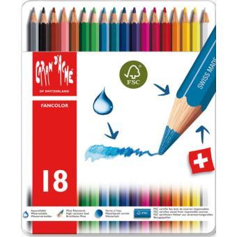 Caixa Metálica 18 Lápis de Cor Aguarela Fancolor