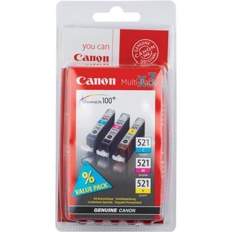 Canon Multi Pack Tinteiros CLI-521 Turquesa/Magenta/Amarelo