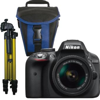 Nikon D3300 + AF-S DX 18-55mm f/3.5-5.6G + Bolsa + Tripé