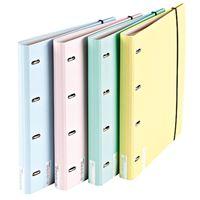 Dossier 4 Argolas com Elástico Ancor Emboss Soft Colours A4 - Envio Aleatório