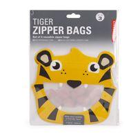 Saco Reutilizável Kikkerland - Tiger Zipper Bags - 3 Unidades