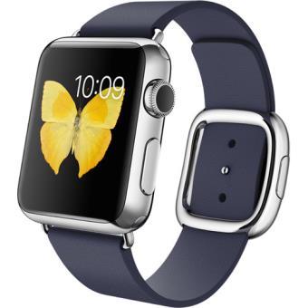 Apple Watch 38mm Aço Inoxidável   Bracelete Pele - Azul Meia-noite - M
