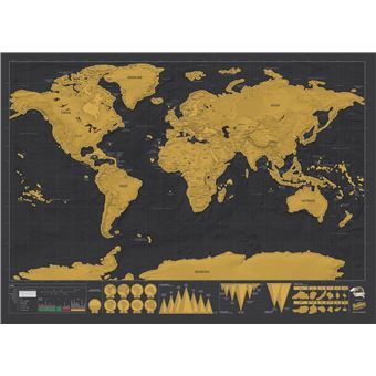 Mapa Mundo Para Raspar Luckies of London - Grande Multicolorido - Deluxe Edition