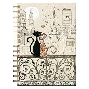 Livro de Notas Pautado em Espiral Bug Art - Casal de Gatos - Beje, A6