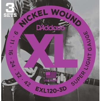Jogo de Cordas Guitarra Elétrica EXL120-3D 09-42 (3-Pack)