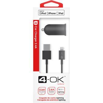 Carregador Isqueiro USB + Cabo Lightning 4-OK - Preto
