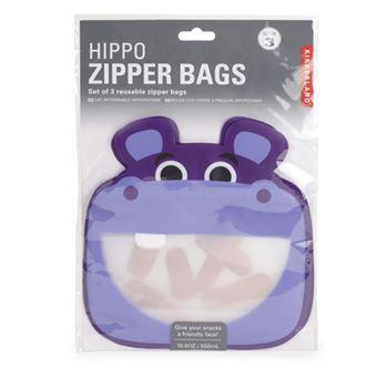 Saco Kikkerland - Hippo Zipper Bags - 3 Unidades