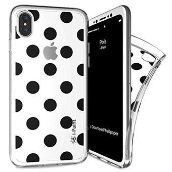 Capa I-PAINT Trendy Pois para iPhone X/XS - Preta e Branca
