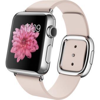 Apple Watch 38mm Aço Inoxidável | Bracelete Pele - Rosa Suave - L