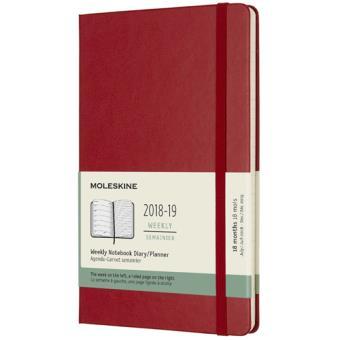 Agenda Semanal 18 Meses 2018-2019 Moleskine Notebook Vermelho Grande