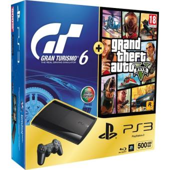 Pack Consola Sony PS3 Slim 500GB + Gran Turismo 6 + GTA V