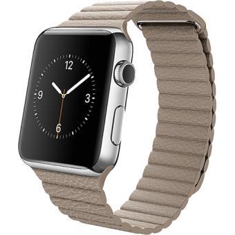 Apple Watch 42mm Aço Inoxidável | Bracelete Pele - Cinzento Pedra - M