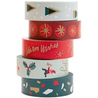 Fita-Cola Decorativa Washi Tape - Classic Christmas - 5 Unidades