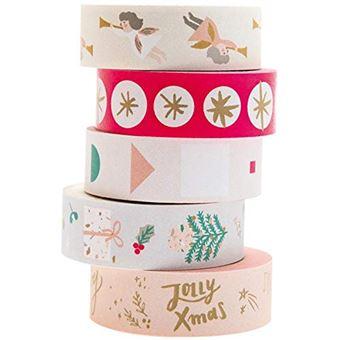 Fita-Cola Decorativa Washi Tape - Pastel Christmas - 5 Unidades
