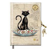 Diário com Cadeado Bug Art - Gato com Almofada - Beje, A6