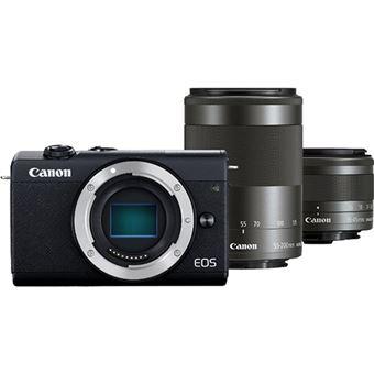 Canon EOS M200 + EF-M 15-45mm f/3.5-6.3 IS STM + EF-M 55-200mm f/4.5-6.3 IS STM - Preto