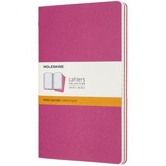 Caderno Pautado Cahier Moleskine Grande Set de 3 - Rosa Kinetic