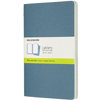 Caderno Liso Cahier Moleskine Grande - Azul Brisk