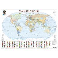 Mapa do Mundo de Parede Médio - Plastificado