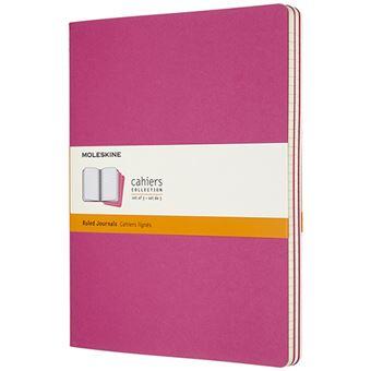 Caderno Pautado Cahier Moleskine Set de 3 - Rosa Kinetic