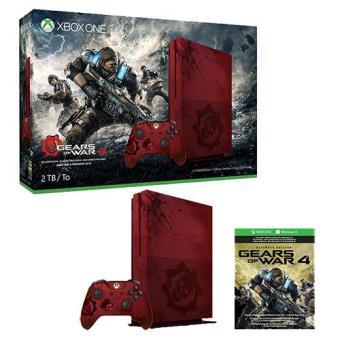 Resultado de imagem para Xbox One S 2TB 2V + 1 Jogo Gears of War 4 Ultimate Edition - Vermelho