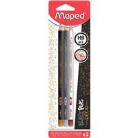 Lápis de Grafite Maped Black'Peps Deco HB2 - 3 Unidades