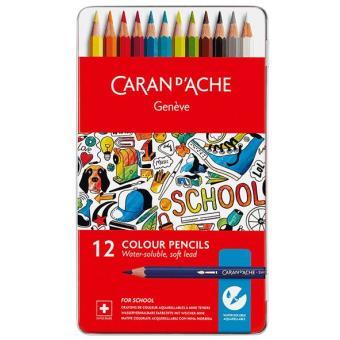 Lápis de Cor Aguarela Caran d'Ache School Line - 12 Unidades