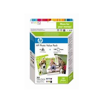 HP Pack 6 Tinteiros Nº363 (Q7966EE) + Papel 10X15 150 folhas