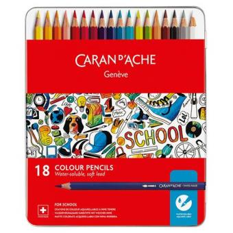 Lápis de Cor Aguarela Caran d'Ache School Line - 18 Unidades