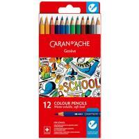 Lápis de Cor Aguarela Caran d'Ache School Line - 12 Unidades Caixa em Cartão