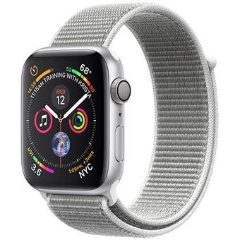 Apple Watch Series 4 44mm - Alumínio Prateado | Bracelete Loop Desportiva - Branco Concha