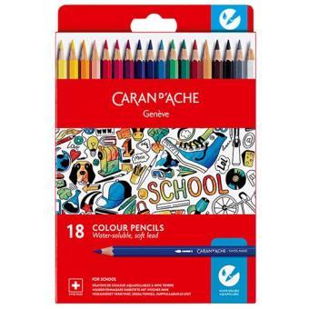 Lápis de Cor Aguarela Caran d'Ache School Line - 18 Unidades Caixa em Cartão