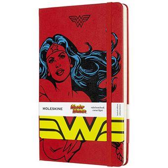 Caderno Pautado Moleskine Grande - Vermelho: Wonder Woman
