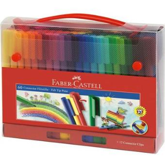 Caixa 60 Marcadores de Feltro Connector Faber-Castell