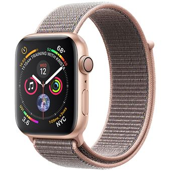 Apple Watch Series 4 44mm - Alumínio Dourado | Bracelete Loop Desportiva - Rosa Areia