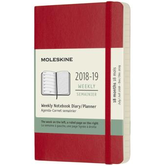Agenda Semanal 18 Meses 2018-2019 Moleskine Notebook Soft Vermeho Bolso