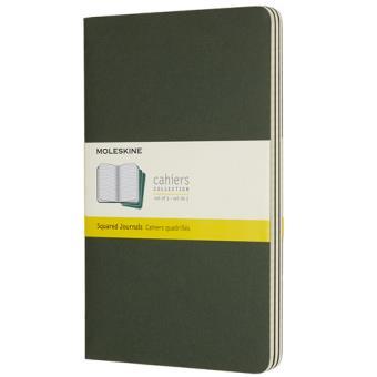 Caderno Quadriculado Moleskine Cahier Grande Verde - 3 Unidades