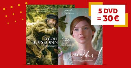 Offre spéciale pour les cinéphiles et les sériephiles : 5 DVD = 30€