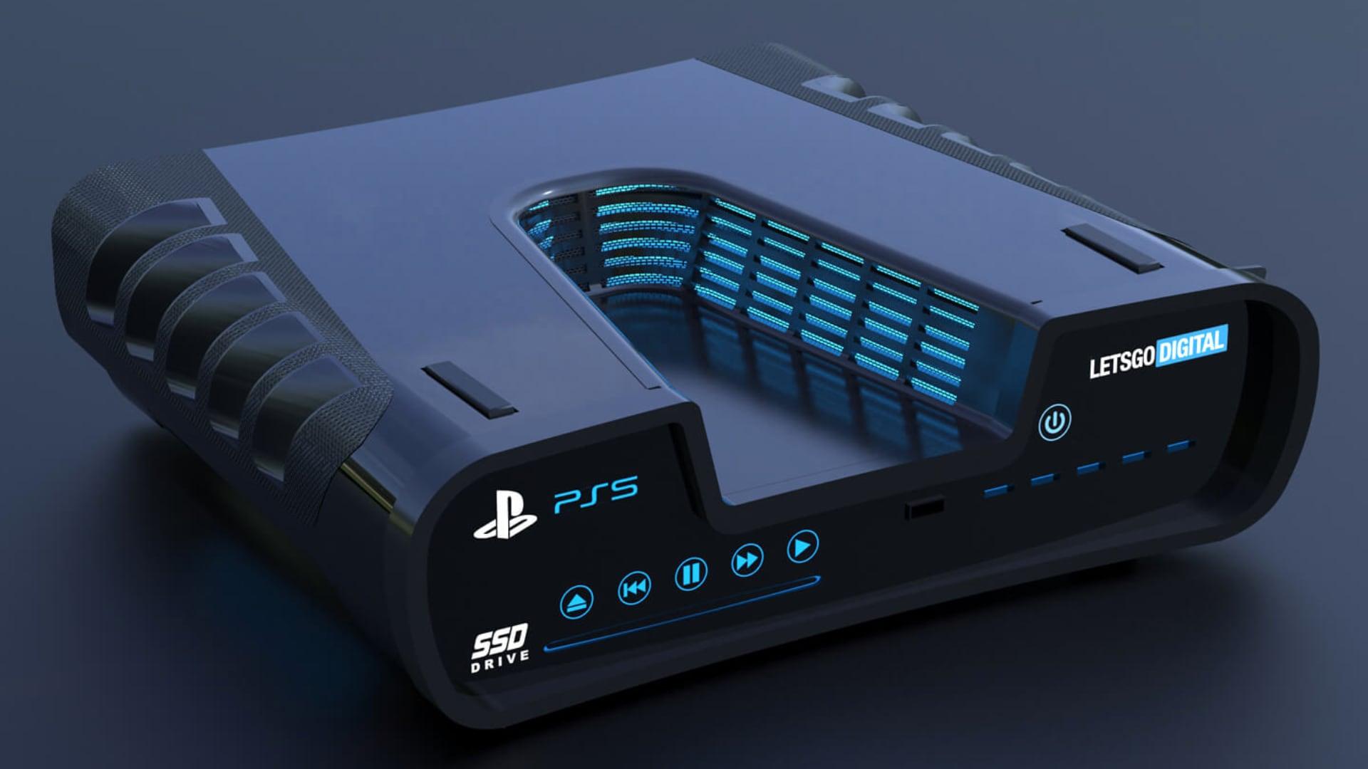 Mockup da PS5 - modelos futurista
