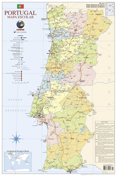 Gut bekannt Mapa de Portugal Escolar Médio - 2 Faces - Folha - Vários - Compre  ED33