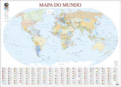 Mapa do Mundo de Parede Grande  Plastificado  Vrios  Compre