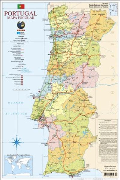 Mapa De Portugal Escolar Médio Faces Folha Plastificada - Portugal mapa