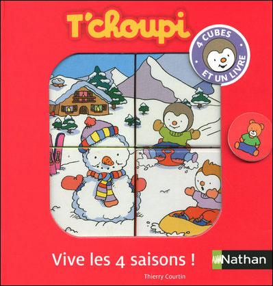 T'choupi - L'album T'choupi fait un bonhomme de neige avec 4 cubes à assembler : Coff tchoupi vive les 4 saison