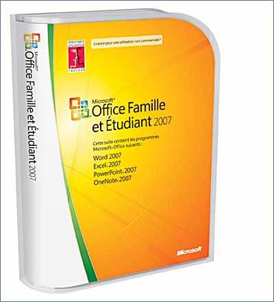 Microsoft Office Famille Etudiant 2007 Pack Office Dvd Rom