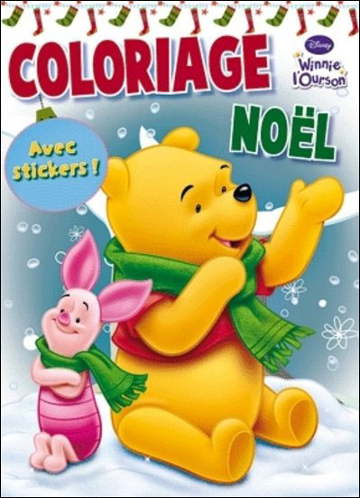 Winnie l'Ourson -  : Coloriage de Noël avec stickers