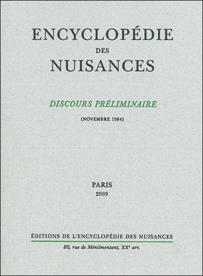 Discours préliminaire de l'Encyclopédie des nuisances