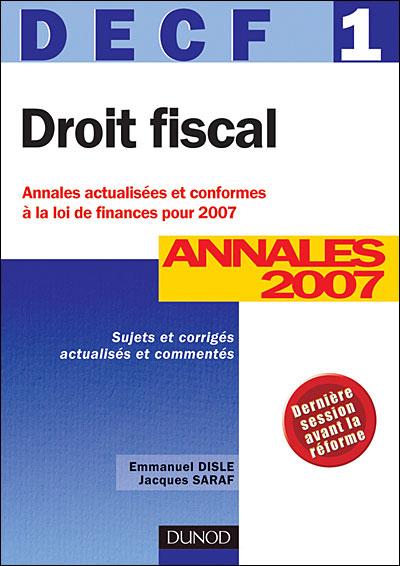 Droit fiscal annales DECF épreuve 1